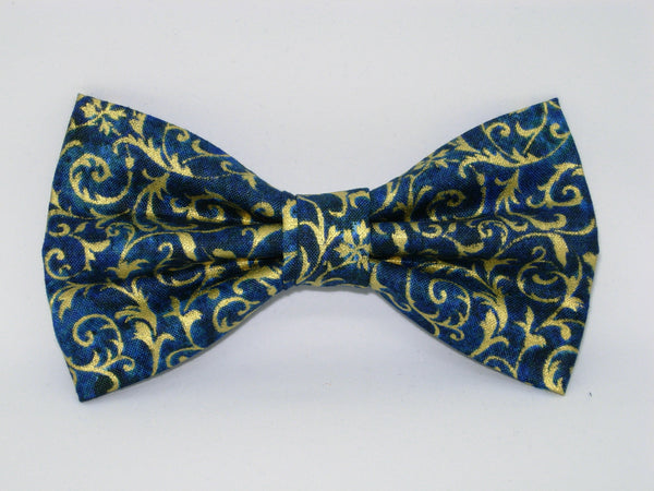 Teal & Gold Bow tie - Metallic Gold Feathery Curls on Teal Blue