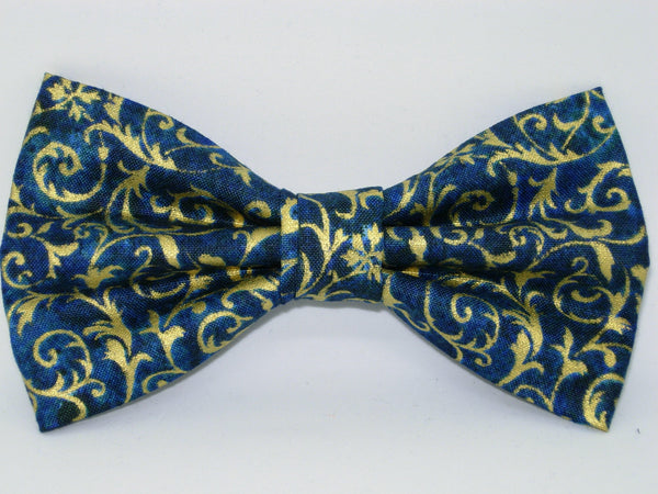Teal & Gold Bow tie - Pre-tied Bow tie - Metallic Gold Feathery Curls on Teal Blue