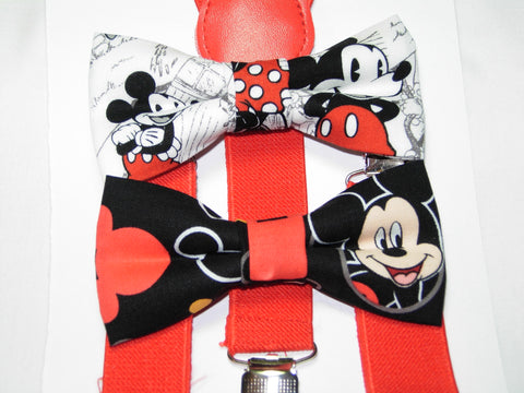 Mickey Mouse Bow Tie & Suspender Set - Boys Red Suspenders - Ages 6mo. - 6yrs.