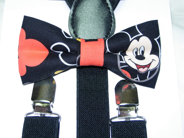 Mickey Mouse Bow Tie & Suspender Set - Boys Black Suspenders - Ages 6mo. - 6 yrs - Bow Tie Expressions