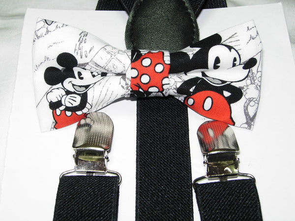 Mickey Mouse Bow tie & Suspenders / Pre-tied Bow tie / Black Suspenders / Small/Medium/Large/X-Large