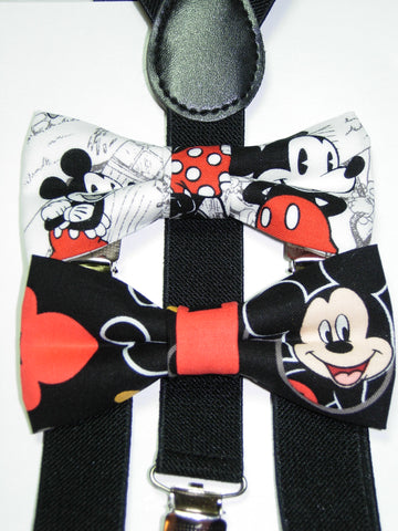 Mickey Mouse Bow Tie & Suspender Set - Boys Black Suspenders - Ages 6mo. - 6 yrs