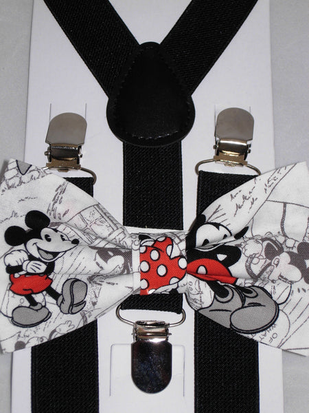 Mickey Mouse Bow tie & Suspenders / Pre-tied Bow tie / Black Suspenders / Small/Medium/Large/X-Large - Bow Tie Expressions