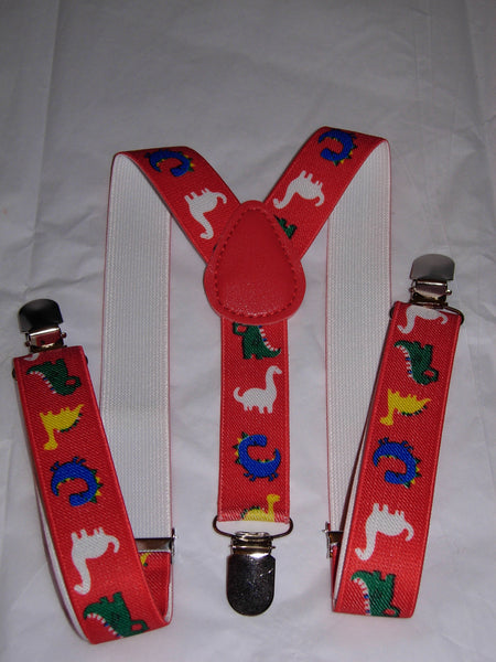 Dinosaur Suspenders - Boys Suspenders - Dinos on Red - Ages 6mo. - 6yrs.