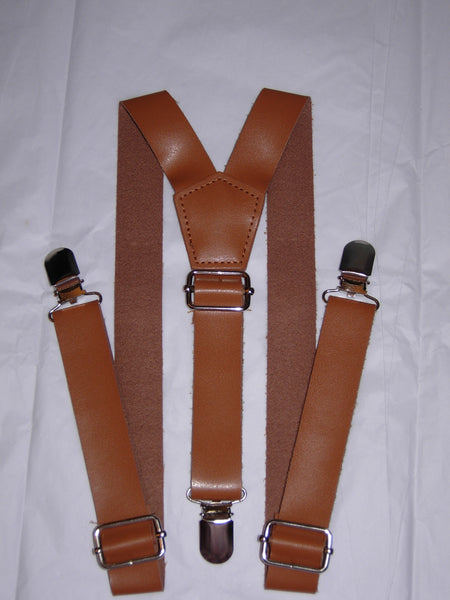 Brown Faux Leather Suspenders - Boys Suspenders - Ages 6mo. - 6yrs. - Bow Tie Expressions