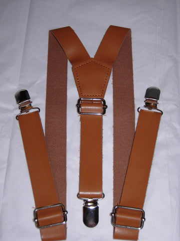 Brown Leather Suspenders - Boys Suspenders - Ages 6mo. - 6yrs.