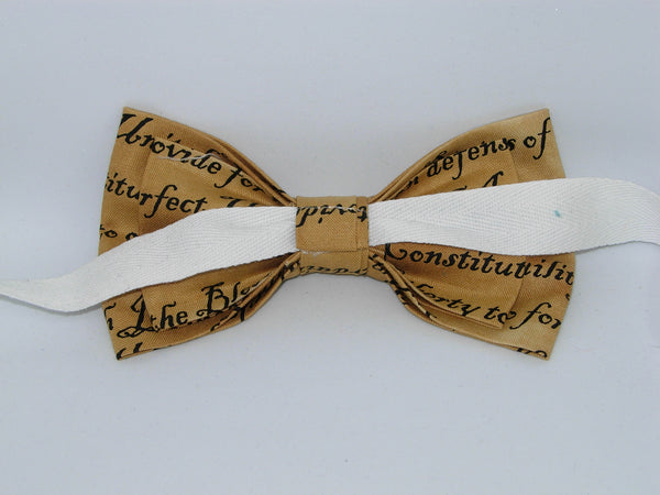 American Bow tie / Preamble to the USA Constitution on Tan / Pre-tied Bow tie