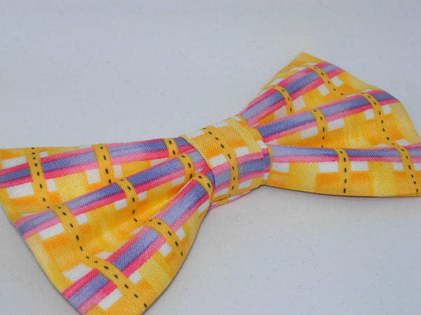 Sunshine Weave / Bright Yellow Plaid with Purple & Pink Bars / Pre-tied Bow tie - Bow Tie Expressions