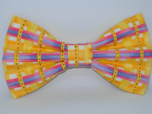 Sunshine Weave / Bright Yellow Plaid with Purple & Pink Bars / Pre-tied Bow tie