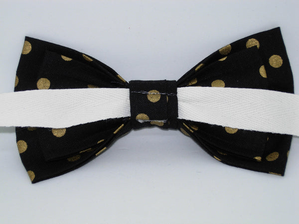 Gold & Black Bow tie / Metallic Gold Polka Dots on Black / Pre-tied Bow tie