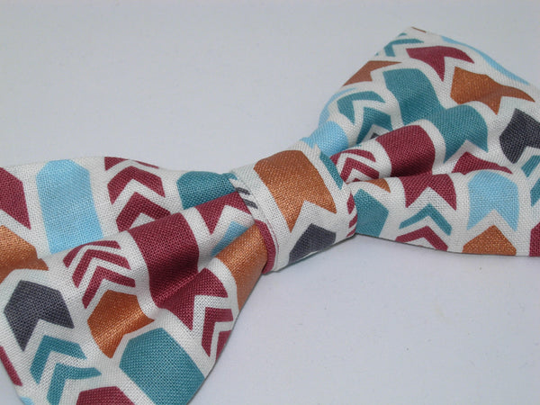 Copper Arrows Bow tie / Teal, Maroon, Blue & Gray Arrows with Metallic Copper Accents / Pre-tied Bow tie - Bow Tie Expressions
