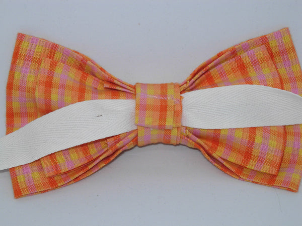 Sunshine Plaid / Bright Yellow, Pink & Orange Plaid / Self-tie & Pre-tied Bow tie - Bow Tie Expressions