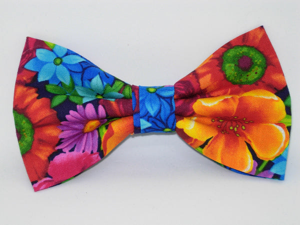 Bright Flowers Bow tie / Red, Orange, Blue & Purple Flowers on Black / Pre-tied Bow tie