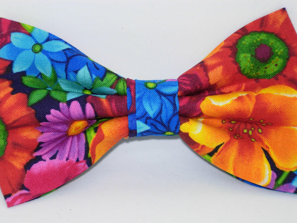 Bright Flowers Bow tie / Red, Orange, Blue & Purple Flowers on Black / Pre-tied Bow tie - Bow Tie Expressions