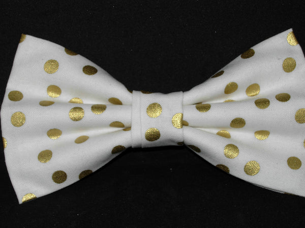 Gold & White Bow tie / Metallic Gold Polka Dots on White / Pre-tied Bow tie - Bow Tie Expressions