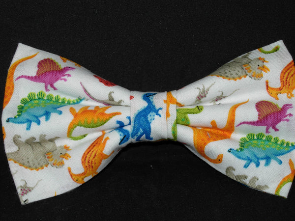 Dinosaur Bow tie / Colorful Dinos on White / Pre-tied Bow tie - Bow Tie Expressions