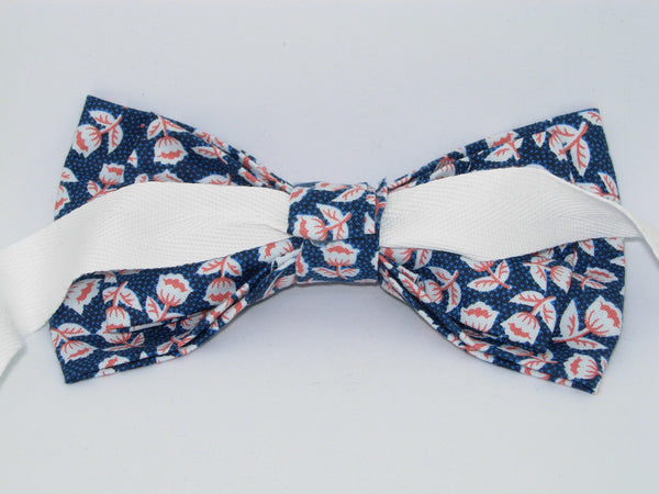 Edelweiss Bow tie / Dainty Red & White Flowers on Dark Blue / Pre-tied Bow tie - Bow Tie Expressions