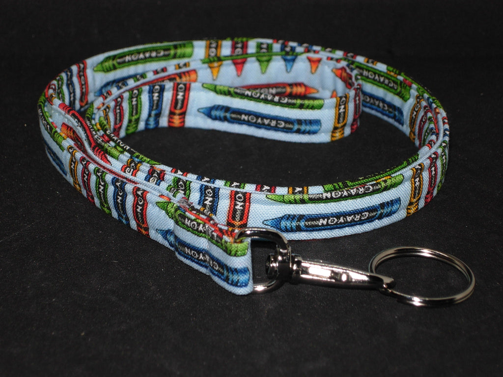 Art Teacher Lanyard / Coloring Crayons on Light Blue / Key Chain, Key Fob, Cell Phone Wristlet - Bow Tie Expressions