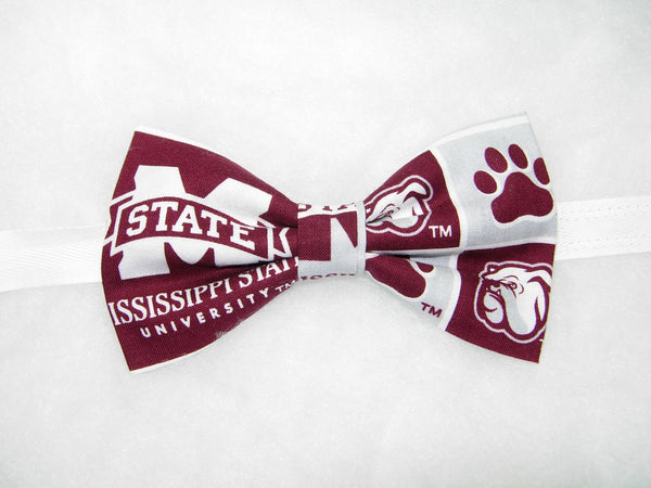 "MISSISSIPPI STATE BULLDOGS ""BULLY"" BOW TIE (BLOCKS) - Bow Tie Expressions  - 2"