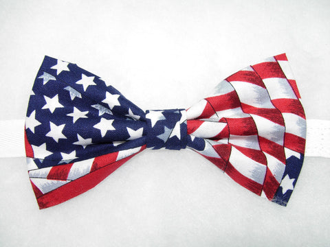 AMERICAN FLAG PRE-TIED BOW TIE - WHITE STARS ON BLUE WITH RED & WHITE STRIPES - Bow Tie Expressions  - 1