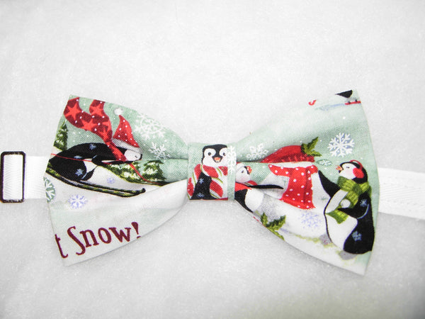 COLORFUL PENGUINS PLAYING IN SNOW PRE-TIED BOW TIE - Bow Tie Expressions