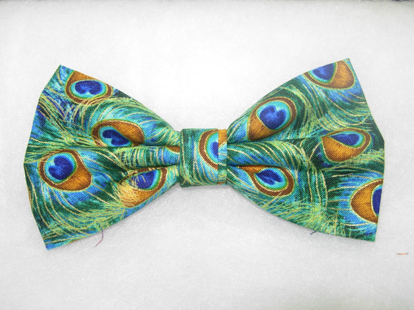 PEACOCK FEATHERS WITH METALLIC GOLD HIGHLIGHTS PRE-TIED BOW TIE - TURQUOISE, JADE, GOLD & BLUE