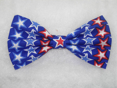 RED, WHITE & BLUE PATRIOTIC STARS ON BLUE PRE-TIED BOW TIE - Bow Tie Expressions  - 1