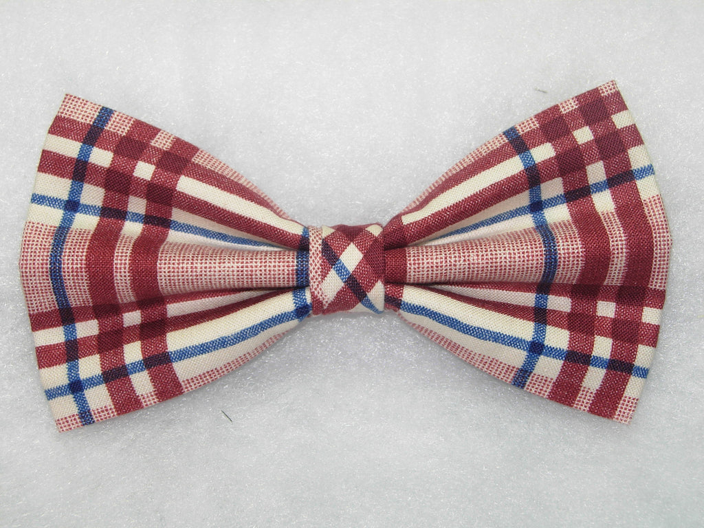 Trendy Red Plaid Bow tie / Burgundy Red, Blue & White Plaid / Pre-tied Bow tie - Bow Tie Expressions