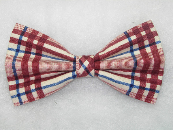 BOLD BURGUNDY PLAID PRE-TIED BOW TIE - BURGUNDY RED WITH BLUE HIGHLIGHTS - Bow Tie Expressions  - 1