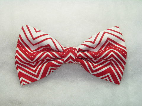 RED & WHITE CHEVRON STRIPES PRE-TIED BOW TIE - Bow Tie Expressions  - 1