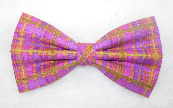 Plum Perfect Bow tie / Purple Plaid / Green & Gold / Pre-tied Bow tie - Bow Tie Expressions