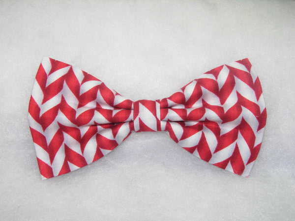RED & WHITE CHRISTMAS CANDY CANE STRIPES PRE-TIED BOW TIE - Bow Tie Expressions