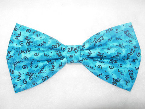 CRAZY Z'S! PRE-TIED BOW TIE - ZIG ZAG ZIP ZOOM DOODLES ON TURQUOISE - Bow Tie Expressions  - 1