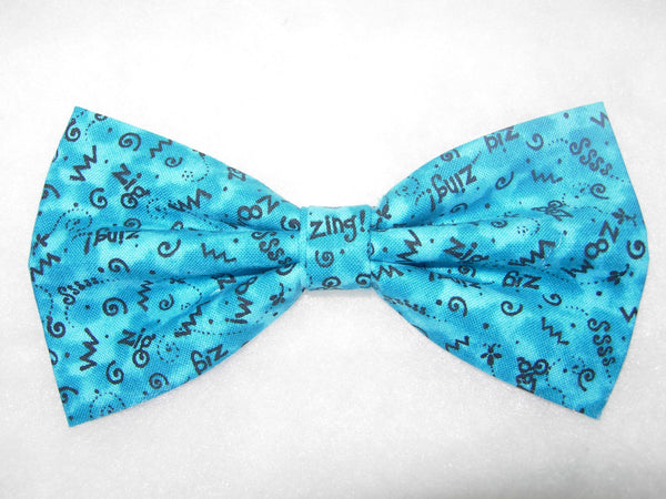 CRAZY Z'S! BOW TIE - ZIG ZAG ZIP ZOOM DOODLES ON TURQUOISE - Bow Tie Expressions