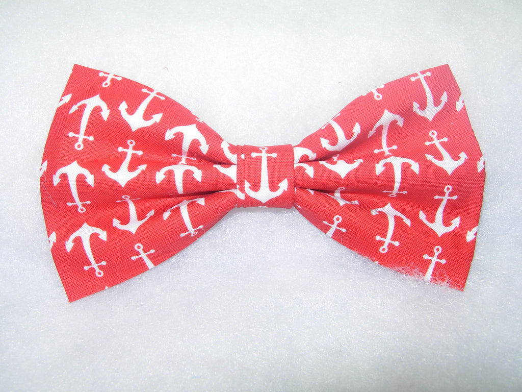 HIGH SEA ADVENTURE! PRE-TIED BOW TIE - NAUTICAL WHITE ANCHORS ON RED - Bow Tie Expressions  - 1