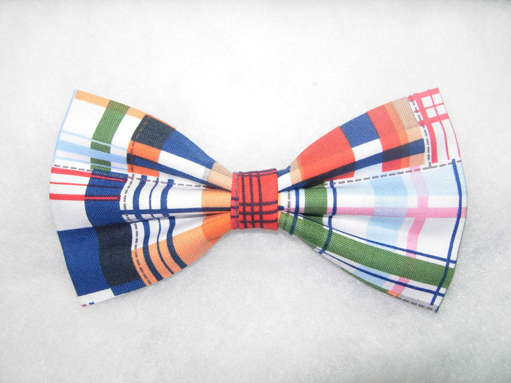 PATCHWORK MADRAS PLAID PRE-TIED BOW TIE - RED, BLUE, GREEN, ORANGE & WHITE - Bow Tie Expressions  - 1