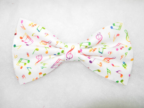 COLORFUL MUSICAL NOTES ON WHITE PRE-TIED BOW TIE - Bow Tie Expressions  - 1