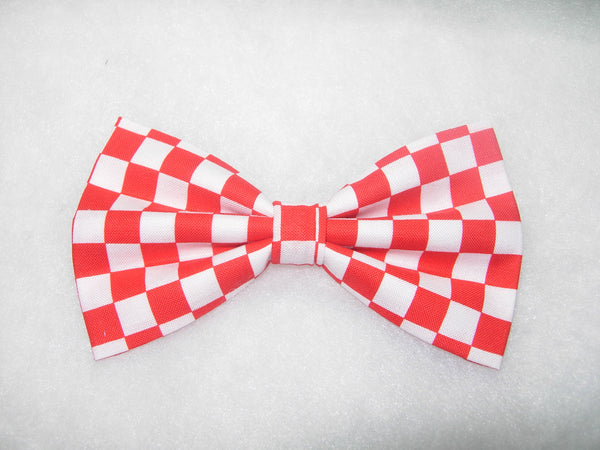 RED & WHITE CHECKERBOARD PRE-TIED BOW TIE - Bow Tie Expressions