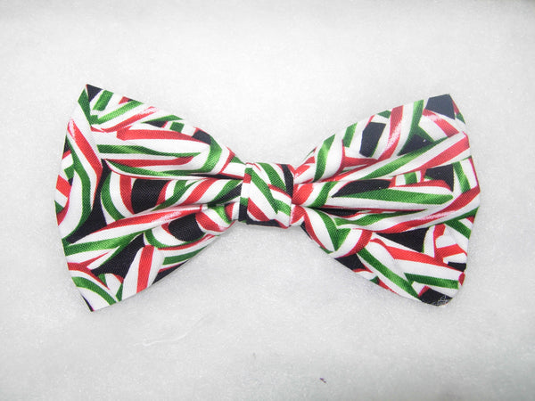 PEPPERMINT TWIST BOW TIE - RED & GREEN CHRISTMAS CANDY CANES TOSSED ON BLACK - Bow Tie Expressions  - 2