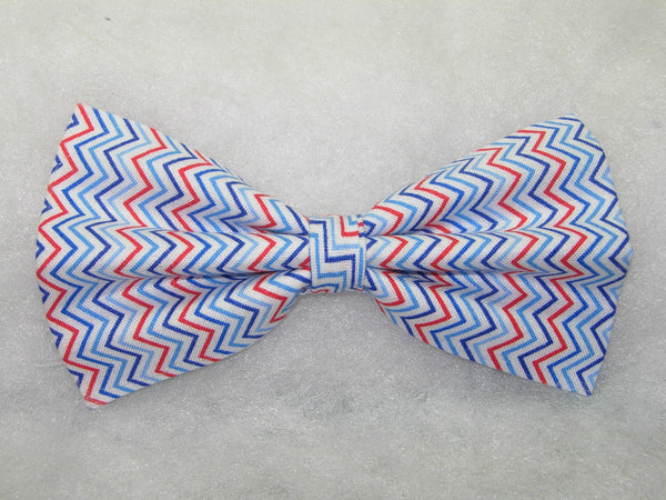 MINI CHEVRON STRIPES BOW TIE - RED, WHITE & SHADES OF BLUE - Bow Tie Expressions  - 2