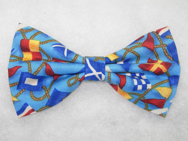 SHIPS AHOY BOW TIE - COLORFUL SIGNAL FLAGS ON DEEP SEA BLUE - Bow Tie Expressions  - 2