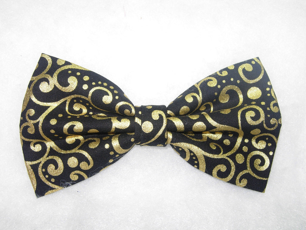 METALLIC GOLD DOTS & CURLS ON BLACK PRE-TIED BOW TIE - A TOUCH OF ELEGANCE! - Bow Tie Expressions  - 1