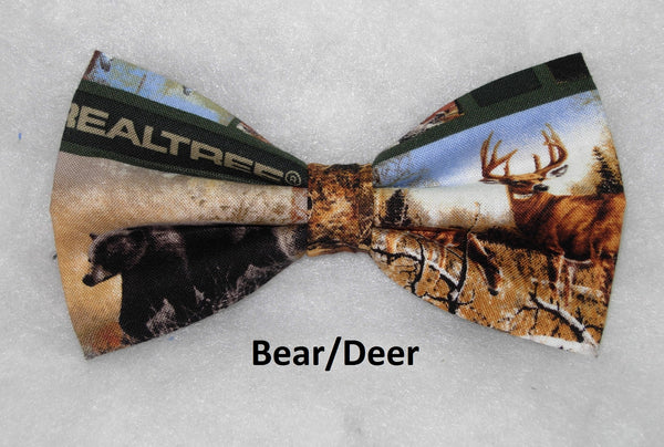RealTree Hunting Bow Tie / Lake Cabin, Deer, Bears, Geese with Camo / Pre-tied Bow tie - Bow Tie Expressions