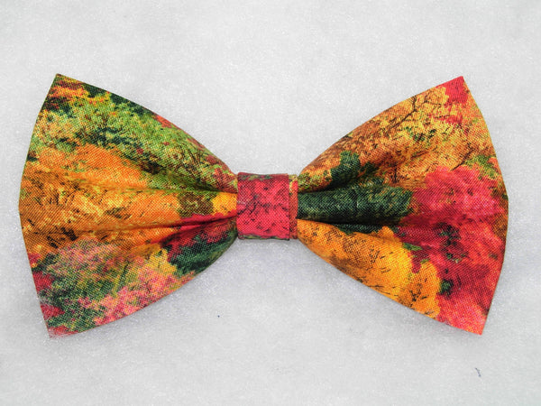 Autumn Trees Bow tie / Red, Green, Yellow & Orange Fall Foilage / Pre-tied Bow tie - Bow Tie Expressions