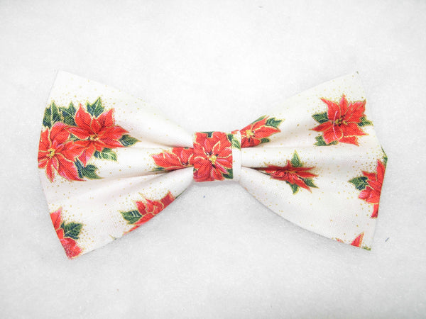 RED CHRISTMAS POINSETTIAS ON WHITE OUTLINED WITH METALLIC GOLD PRE-TIED BOW TIE - Bow Tie Expressions