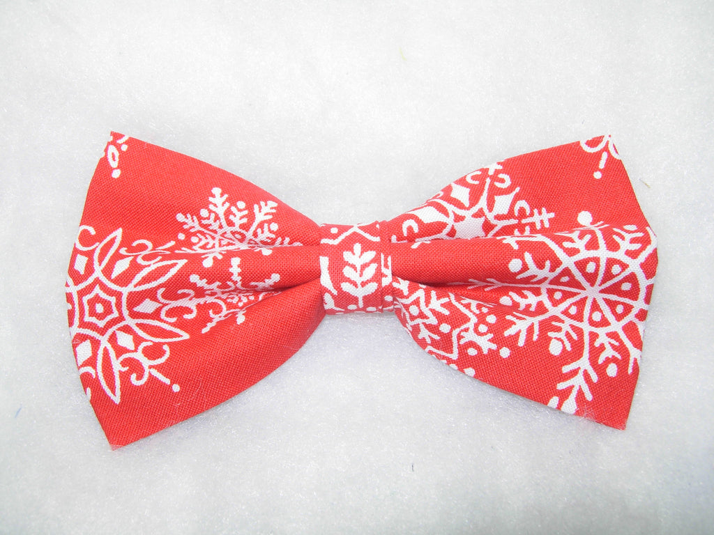 WINTER SNOW PRE-TIED BOW TIE - WHITE SNOWFLAKES TOSSED ON RED - Bow Tie Expressions  - 1