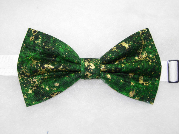 EMERALD GREEN GRANITE TEXTURE WITH METALLIC GOLD FLAKES BOW TIE - Bow Tie Expressions  - 2