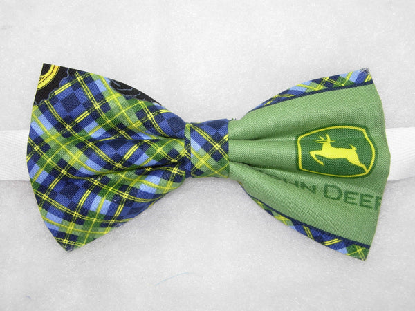 John Deere Bow tie / JD Logos with Blue & Green Plaid / Pre-tied Bow tie - Bow Tie Expressions