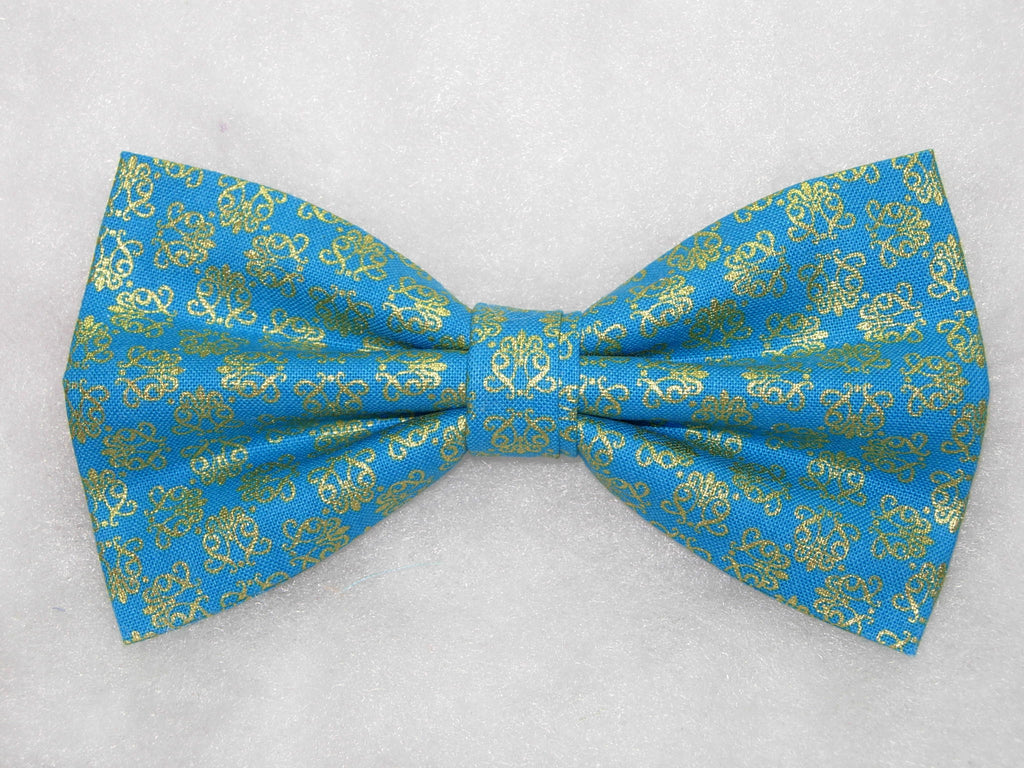 ORNAMENTAL FILIGREE PRE-TIED BOW TIE - METALLIC GOLD FILIGREE ON A TEAL GREEN BACKGROUND - Bow Tie Expressions