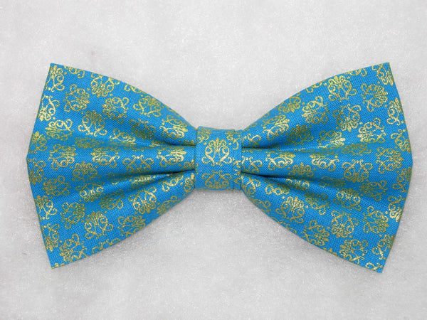 ORNAMENTAL FILIGREE PRE-TIED BOW TIE - METALLIC GOLD FILIGREE ON A TEAL GREEN BACKGROUND - Bow Tie Expressions  - 1